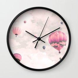 Hot air balloons, violet II Wall Clock