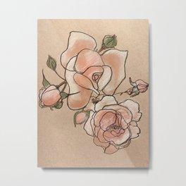 Pink Roses in Bunch Metal Print
