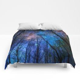 Black Trees Dark Blue Space Comforters