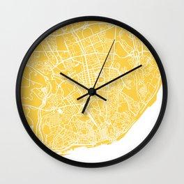 lisbon map yellow Wall Clock