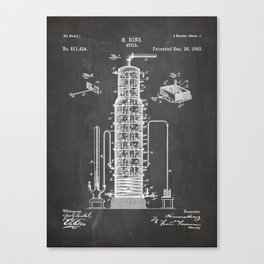 Whisky Patent - Whisky Still Art - Black Chalkboard Canvas Print