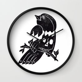Skull Bird Wall Clock