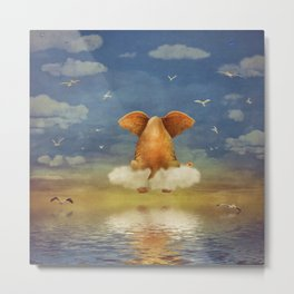 Sad elephant sitting on cloud in  sky  Metal Print