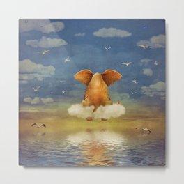 Sad elephant sitting on cloud in  sky  Metal Print