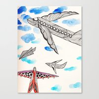 airplane Canvas Prints featuring Airplane by Beatriz Chamussy
