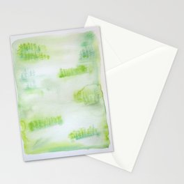Misty Green Trees Stationery Cards