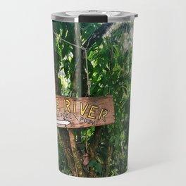 Blue River Sign in Tropical Rain Forest Travel Mug