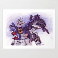 gundam Art Prints featuring Gundam GP01 by Hector Trunnec