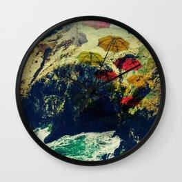 Ireland Cliff Cave Umbrellas Wall Clock
