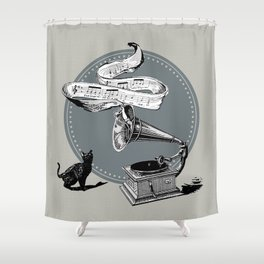 The Cat and the Song Cat (black and white) Shower Curtain