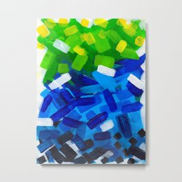 Messy Stripes Abstract Acrylic Painting Layers Of Colorful Green Blue Yellow Paint Metal Print