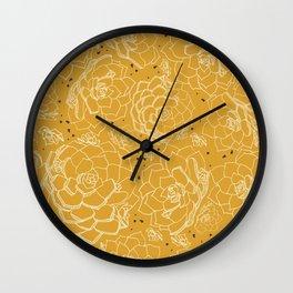 Succulent garden in mustard yellow Wall Clock