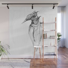 Kingfisher 1a. Black on white background-(Red eyes series) Wall Mural