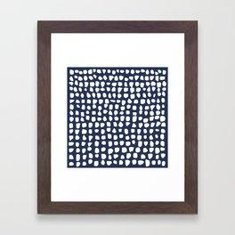 Dots / Navy Framed Art Print