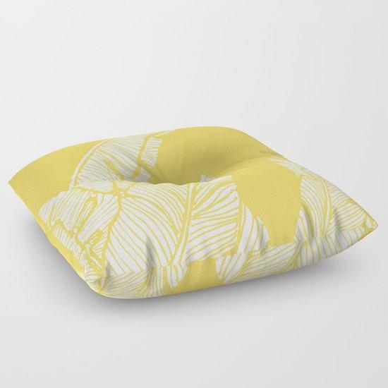 Banana Leaves on Yellow #society6 #decor #buyart Floor Pillow by DesigndN Society6