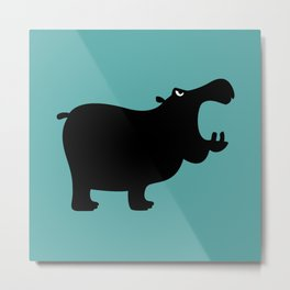 Angry Animals - Hippo Metal Print