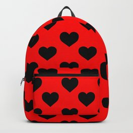 Hearts (Black & Red Pattern) Backpack