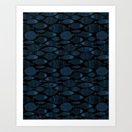Blue Fish Black Art Print