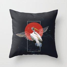 Cranes Japanese Kimono Throw Pillow