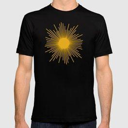 Mustard Yellow Retro Sun on Off White T-shirt