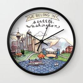 We Belong in Seattle Wall Clock