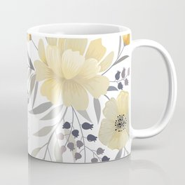Modern, Floral Prints, Yellow, Gray and White Coffee Mug