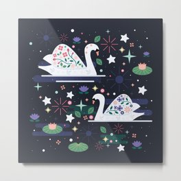 Swans on Stars Metal Print