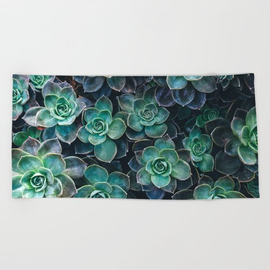 Succulent Blue Green Plants Beach Towel