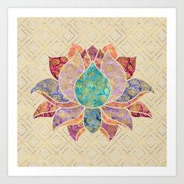 Watercolor & Gold paisley decorated lotus Art Print