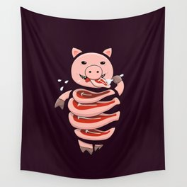 Gluttonous Cannibal Pig Wall Tapestry