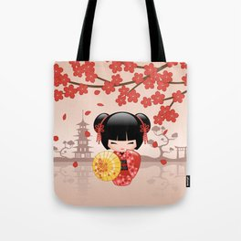 Japanese Red Sakura Kokeshi Doll Tote Bag