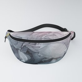 Blush and Payne's Grey Flowing Abstract Painting Fanny Pack