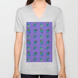 cactus on violet background . Art Unisex V-Neck