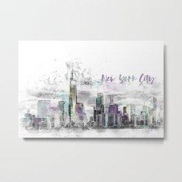 Modern Art NYC Manhattan Skyline | jazzy watercolor splashes Metal Print