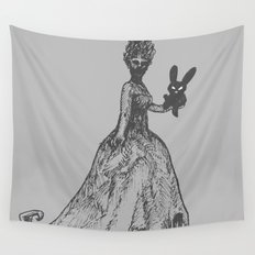 The Black Bunny of Doom and his Date Wall Tapestry
