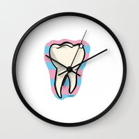 tooth Wall Clocks featuring Tooth by Constance Macé