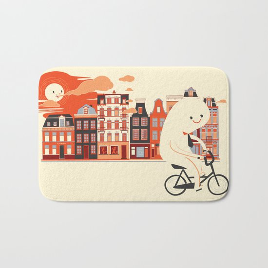 Happy Ghost Biking Through Amsterdam Bath Mat