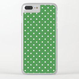 White Dots and Green Background Clear iPhone Case