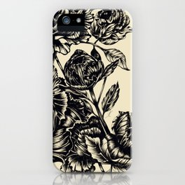 Peonies, black & white iPhone Case