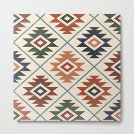 Aztec Symbol Pattern Col Mix Metal Print