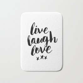 Live Laugh Love black and white wall hangings typography design home wall decor bedroom Bath Mat
