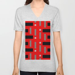 Pattern of Squares in Red Unisex V-Neck