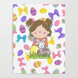 Easter Eggs Girl Poster