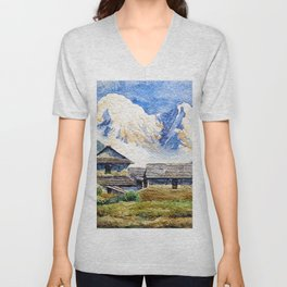 Old House By The Mountain Unisex V-Neck