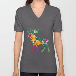 Moose Colorful Deer Reindeer Elk Stag Antler Unisex V-Neck