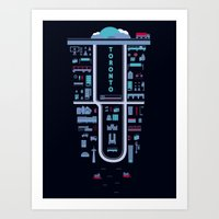 toronto Art Prints featuring Toronto by boxi illustrations