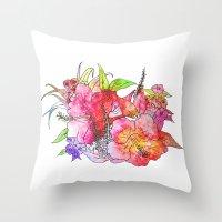 hawaiian Throw Pillows featuring Hawaiian Flowers by Nicko-Suave