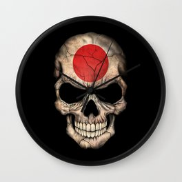 Dark Skull with Flag of Japan Wall Clock