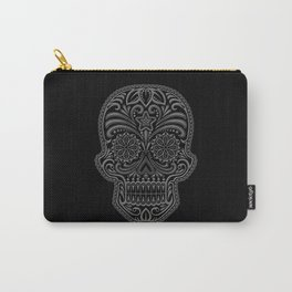 Intricate Gray and Black Day of the Dead Sugar Skull Carry-All Pouch