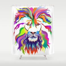 The Lion of Technicolor Shower Curtain